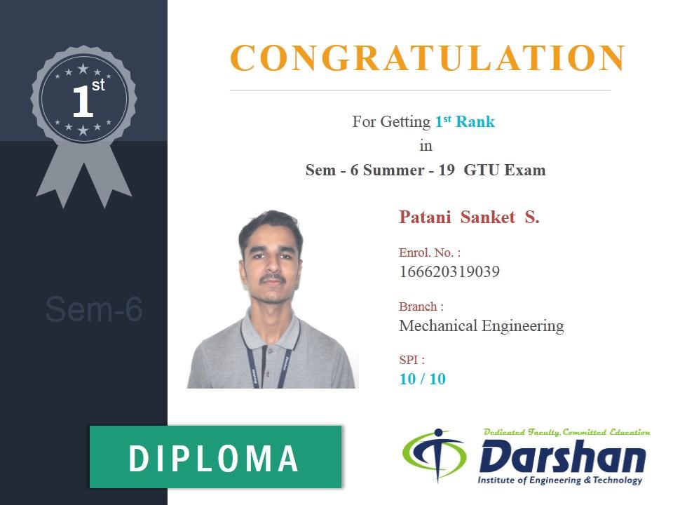 6th Semester Mechanical Engineering student secured 10 SPI in GTU Summer 2019 Examination