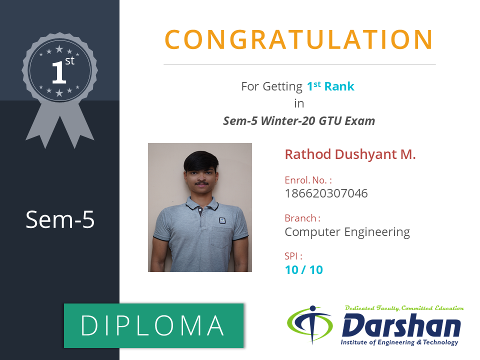 5th Semester Computer Engineering student secured 10 SPI in GTU Winter 2020 Examination