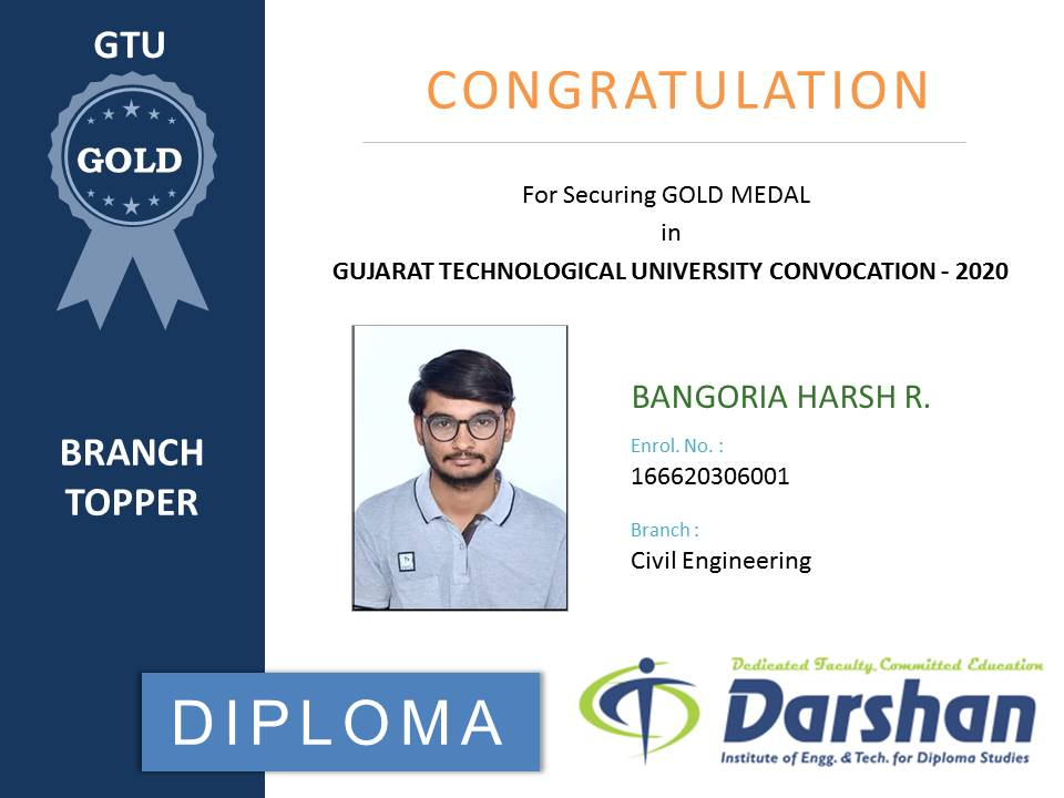 Appreciation to BANGORIA HARSH (Diploma civil) for securing GOLD MEDAL in GTU Convocation-2020.