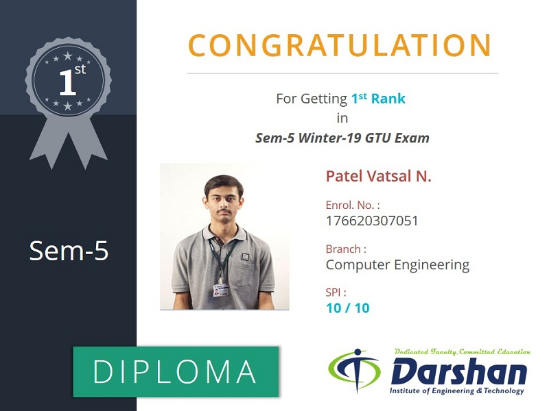 5th Semester Computer Engineering student secured 10 SPI in GTU Winter 2019 Examination