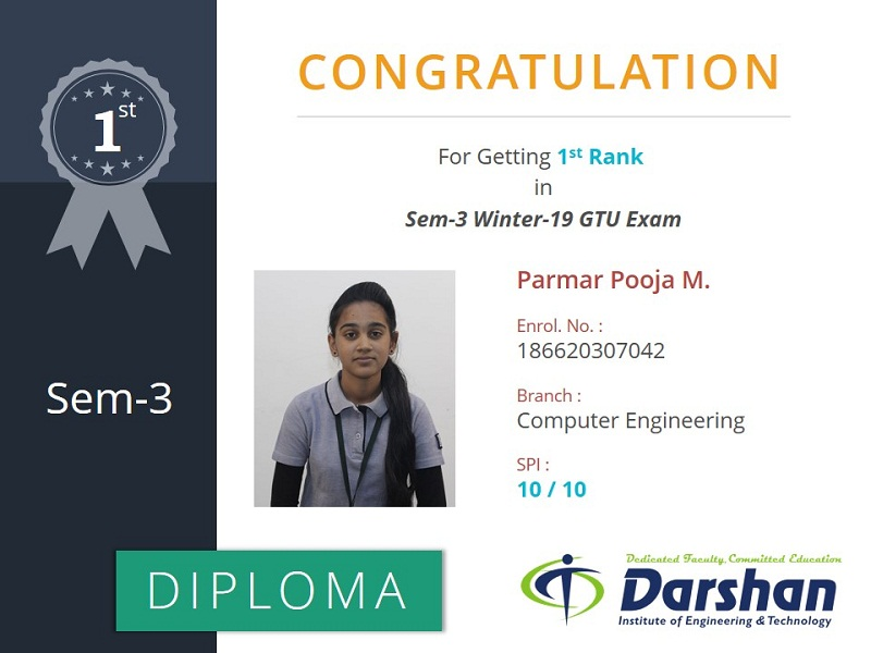 3rd Semester Computer Engineering student secured 10 SPI in GTU Winter 2019 Examination